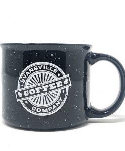 Evansville Logo on Black Coffee Mug