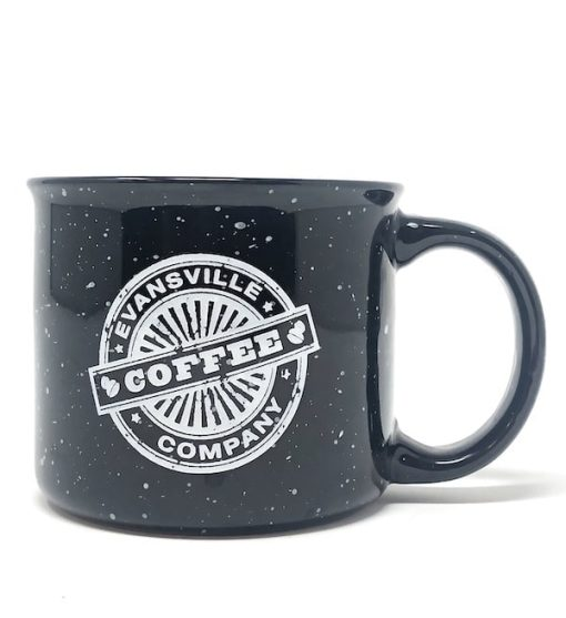 Evansville Logo on Black Coffee Mug