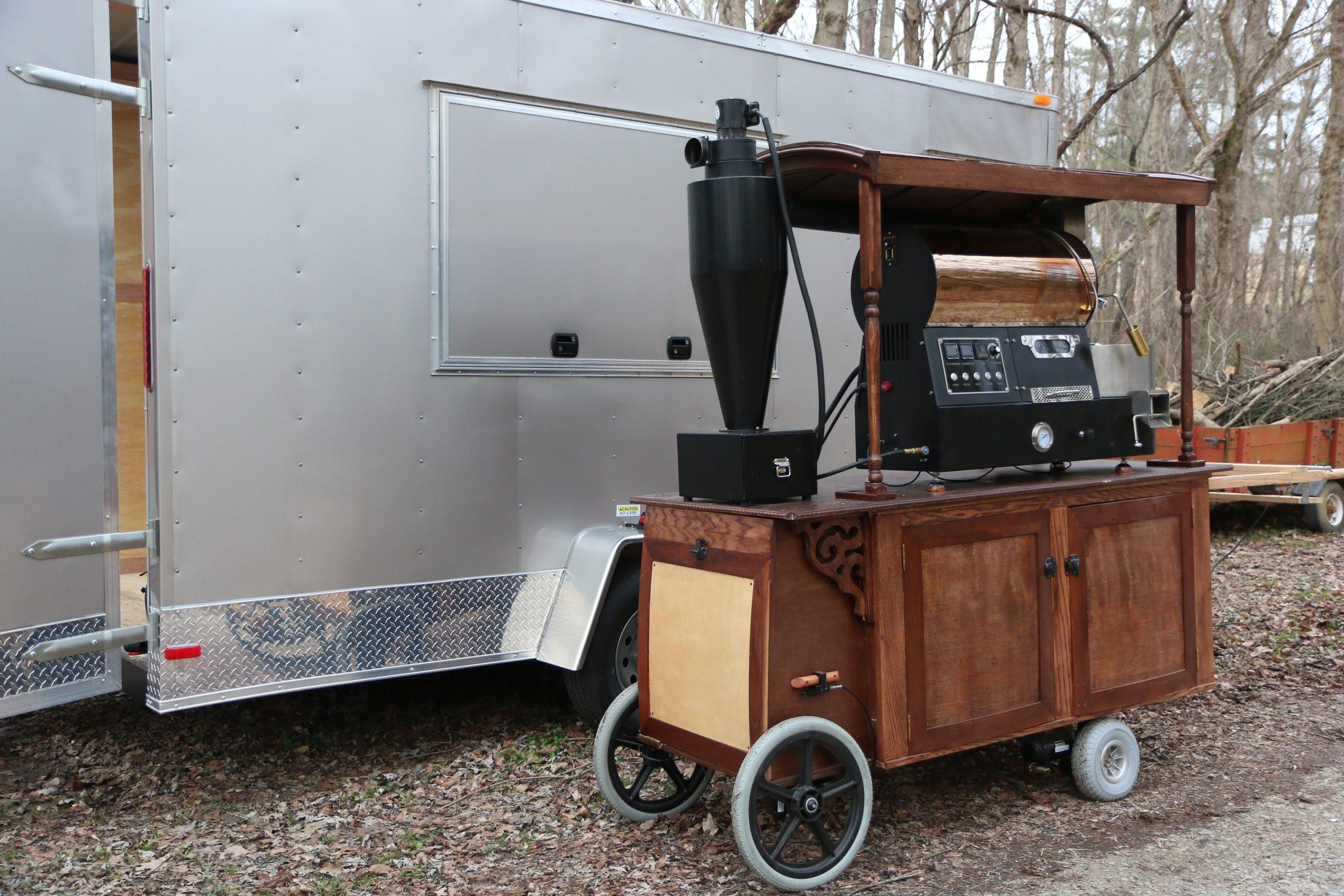 2 kilo coffee roaster on motorized cart